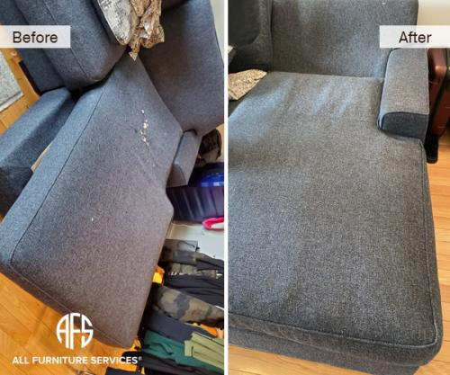 Chaise Seat Fabric material worn torn burn change with underside upholstery patch fix