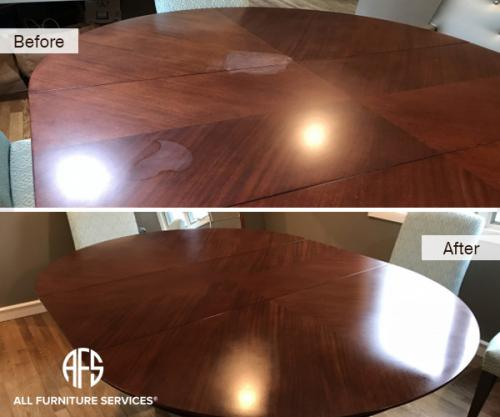 Dining table top heat mark removal water mark removal finish restore refinishing polishing furniture wooden scratch