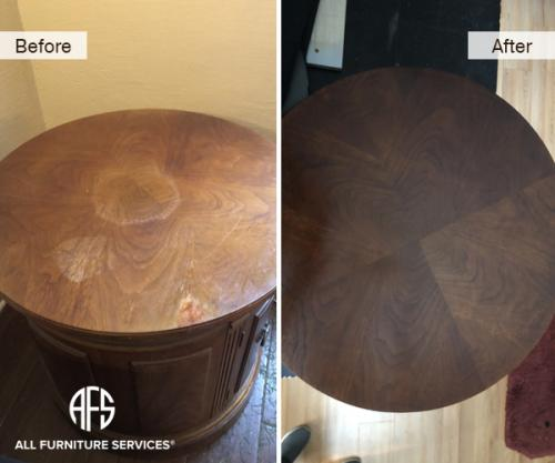 Veneer Table Top Liquid damage water mark ring dicoloration repair sand stain finish fix