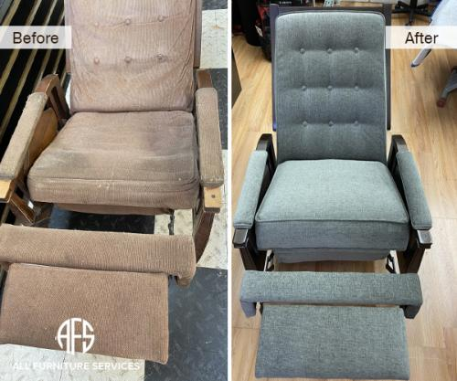 old antique grand rocking recliner chair repair replace mechanism footrest back seat re-upholster materail make new