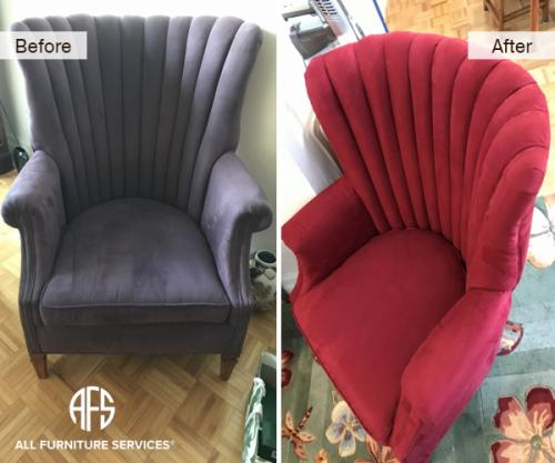 wing back channel tufted crown chair re-upholstery color fabric  change
